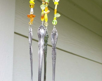 Wind chime - Recycled silverware wind chime - Beaded windchime - Upcycled windchime - Flatware wind chime - Spoon wind chime - Yellow beads