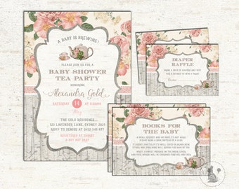 3-PIECE-SUITE. Baby Shower Tea Party Invitation. Floral Diaper Raffle. Books For Baby Insert Card. Cottage Chic Baby Shower Package. TEA1