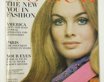 Vintage Vogue magazine Jean Shrimpton March Mar 15 1969 Penati fashion