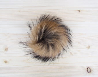 Brown raccoon fur pompom for hat beanie