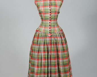 Vintage 1950s Suzy Perette Red and Green Plaid Sleeveless Party Dress