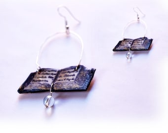 Open book earrings, literary gifts ideas for her with crystal ball, book page jewelry, book lover librarian dangle Book gift for bibliophile