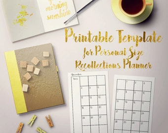 Printable Monthly 2-page Template for Personal Recollections Planner - Fillable PDF - use any font