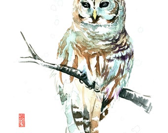 Owl Watercolor Fine Art Giclee Print / Bird painting / Forest wildlife painting / Bird lover gift