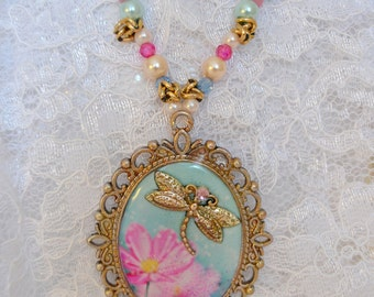Dragonfly Summer Necklace of Resin and Beads