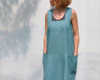 Pinafore custom sea green square cross linen japanese apron / Mens x back no ties linen full apron / Soft linen work and home dress