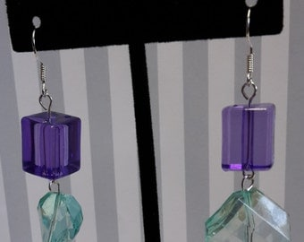 Purple & Light Green Dangle Earrings