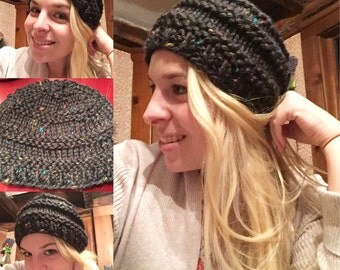 Chunky Hand Knit Hat in Black and Rainbow Sprinkles