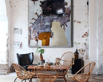 Handmade Extra Large Contemporary Painting, Huge Abstract Canvas Art, Original Artwork by Bob Luo. Hand paint. White, Brown, gray, black.