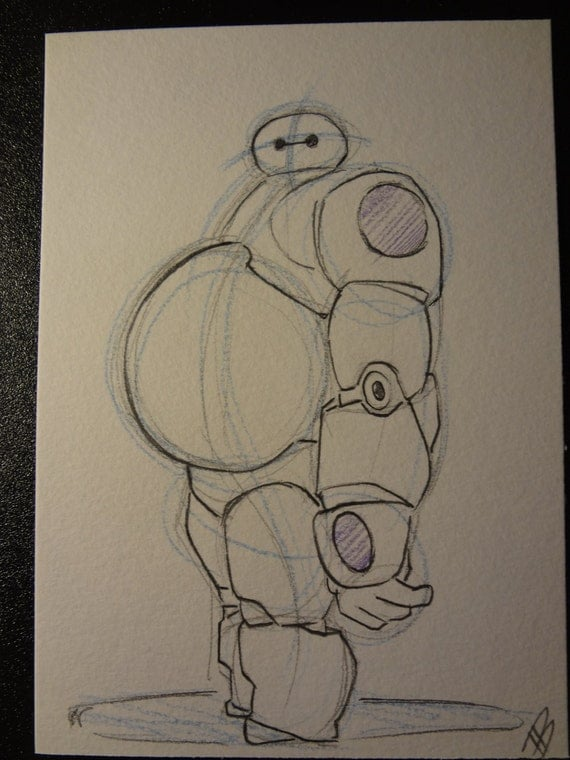 Baymax Pencil Sketch Inspired By Big Hero 6 Original Art