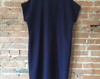 Vintage Dark Blue Minimal Boxy Dress