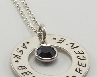 Ask/Believe/Receive necklace - hand stamped sterling silver pendant