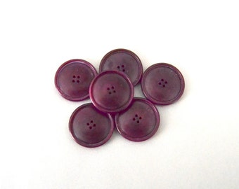 Burgundy Wine Lot of Vintage Buttons - 6 Vintage Buttons
