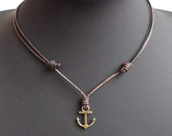 Mens anchor necklace, Leather anchor necklace, anchor pendant necklace, silver anchor pendant, bronze anchor pendant, anchor necklace men