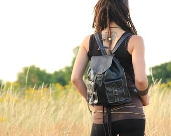 Black Womens Leather Backpack, Leather Rucksack, Shoulder Bag, Leather Bag, Leather Pouch, Leather Satchel, Fashion Backpack, Girls Backpack