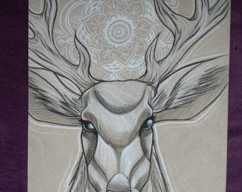 Stag Mandala original drawing illustration , charcoal