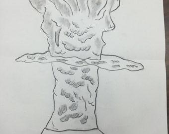 "Large Charcoal ""Hiroshima Head"" drawing"