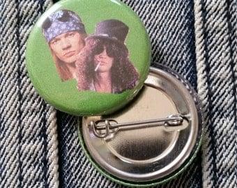 Axl and Slash Guns N Roses handmade 1-1/4 inch pinback button pin pins buttons pingame badge badges