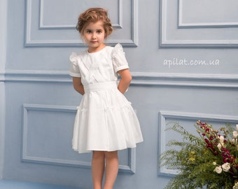 Ivory Flower Girl Dress B5 with Bow, Handwork Girl Dress, Birthday Girl Dress, First Communion Dress, Special-Occasion dress