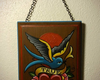 traditional tattoo art acrylic painting wood plaque