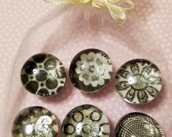 Black & White Whimsey - Glass Magnets (Set of 6)