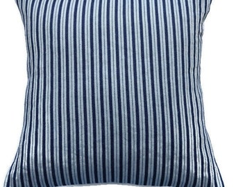 """Navy Striped Pillow Cover/ Handmade """"Ticking Style Fabric"""" Cushion Cover/ Farmhouse decor/ Blue and White Striped Denim Pillow /Cottage"""