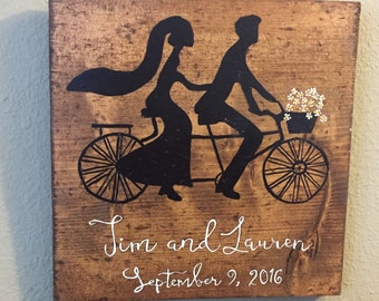 Bicycle, Bride groom tandem bike,  established , Biking couple, Personalized, wedding gift, bridal shower gift, rustic wood, wall decor