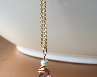 Pink quartz fresh water pearl 14k gold filled necklace. Made in USA. Ships immediately. Free shipping within USA.
