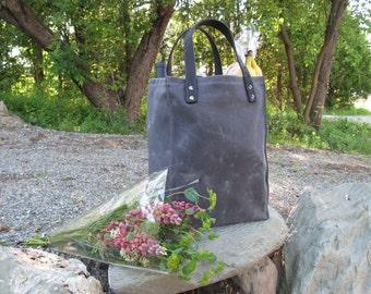 Waxed Canvas Bag, Waxed Canvas Farmer's Market Tote, Waxed Canvas Handbag, Reusable Grocery Bag, Shopping Bag, Recycled Horse Tack