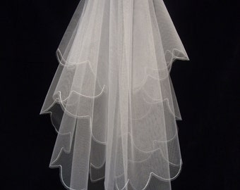 "Wedding Veil -"" Small Scallop"" - All sizes! - UK made."