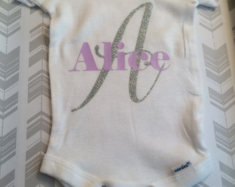 Baby girl onesie. Personalized onesie. Silver glitter onesie. Baby girl outfit. Baby shower gift. Personalized baby girl onesie.