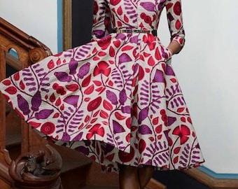 Ankara Shirt Dress with 3/4 Sleeves