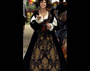 Renaissance Medieval Black brocade bodice, skirt, detachable sleeves Costume Clothes Clothing