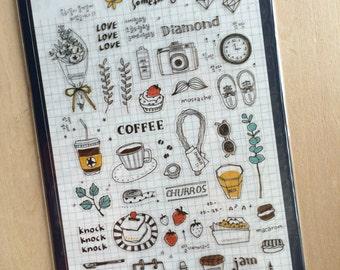 Korea Transparent deco stickers - suatelier sticker: a daily something