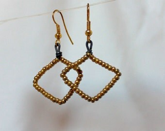 Gold Beaded Wire Earrings
