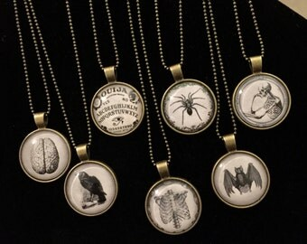 Black and White Gothic Picture Pendant Necklace,