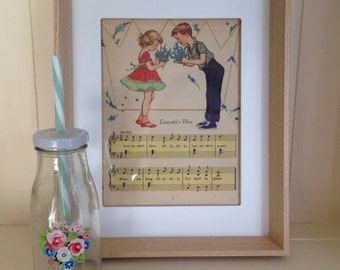 Lavender's Blue - vintage 1959 nursery rhyme framed illustration - nursery, retro, bedroom, decoration, print