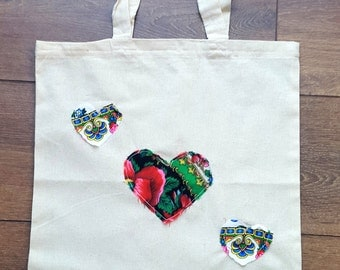 Tote Bag with Upcycled Ukrainian Folk Scarf Heart Decor