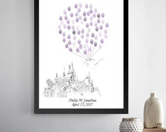 Harry Potter Guestbook Alternative Fairytale Fingerprint  Hand Drawn, Wedding, Unique Guestbook, Thumbprint Guest Book, Bridal Shower