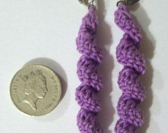 Crochet purple earrings