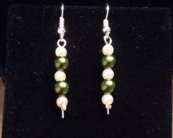 Pearl and Emerald Beaded Earrings