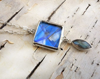 Blue Morpho Butterfly Wing Necklace with Labradorite stone - faceted glass gem pendant and sterling chain
