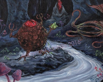 Dungeon monster fantasy painting, horror tentacle art, original acrylic painting 8 x 10 cavern crystals 80s retro RPG gaming fan