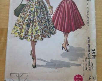 Vintage 50s McCalls 3511 Misses Soft Box Pleated Circle Skirt Sewing Pattern Waist 24
