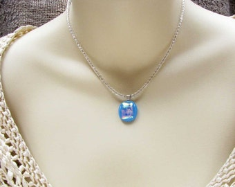 Sky Blue  Fused Glass Necklace Pendant Crystal Bead White Necklace  Handmade Jewelry Dainty