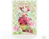 Marie Antoinette, Christmas card, deer, reindeer, pink Christmas, card for her, Rococo, French, woodland, pink, green, gold holiday card