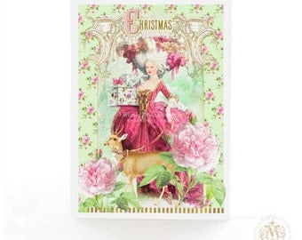 Marie Antoinette Christmas card with deer, reindeer, a pink and mint card in French vintage Rococo style, a holiday card for her