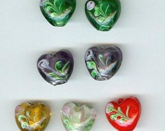 Glass Heart Beads, 15mm Flower Heart Beads in Green Purple Yellow Red 7 Beads 0120