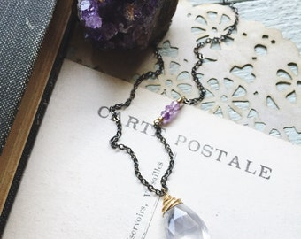 E v e r l a s t i n g...Ice quartz necklace, amethyst, crown chakra, boho, February Birthstone, minimalist, gunmetal necklace FREE SHIPPING
