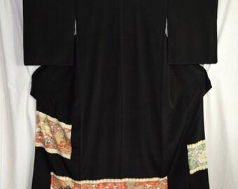 Vintage Japanese Tomesode Kimono Woman's Robe Collectible Display - Fu Dog Protector